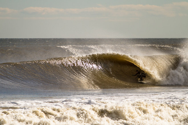 Surfing Big Waves in Monmouth County