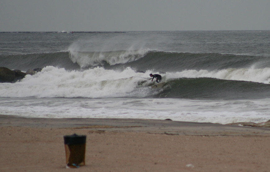 Surfing a Nor\'Easter in Long Island, NY