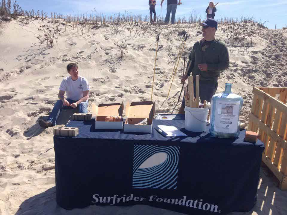 Members of Surfrider Foundation Jersey Shore chapter help preserve the beach during a dune grass planting