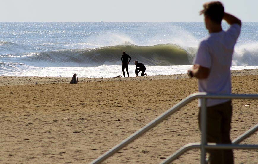Surfers get ready to take on swell from Hurricane Gonzalo